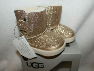 NIB UGG Keelan Suede Sparkle Toddler Booties Gold Glitter 9