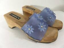 Vintage Candies Heels 6 Blue 90's Daisy Wood Wedges Slide On Plastic Thick Strap