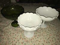 "3 VTG Indiana Milk & Green Glass GARLAND Compote Tear Drop Pedestal Bowl 7.5"""