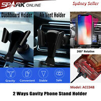 Gravity Car Holder Air Vent Dashboard Mount Stand Clip Cell Phone 2-in-1 048 SP