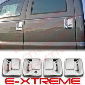 For Chrome 4 Door Handle Cover W/O K For 1999-16 Ford Super Duty F250+F350+F450