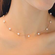 Fashion Charm Jewelry Pendant Chain Pearl Choker Chunky Statement Bib Necklace B
