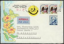 1978 Airmail Cover To Germany; Early Happy Face Emoji Cinderella Tied By Cancel