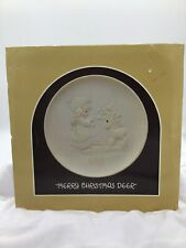 "Enesco Precious Moments ""Merry Christmas Deer""Plate, #520284,Butterfly Mark 1988"