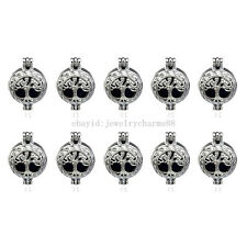K23 10X/lot Silver Round 22mm Tree of Life Oysters Pearl Cage Locket Pendant