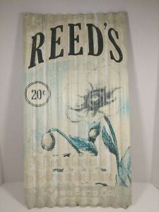 Reed's Flower Seeds Corrugate Metal Sign Ready To Hang RARE!! Free Shipping!!