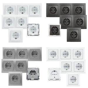 1/2/3-fach Schutzkontakt-Steckdose Unterputz mit/ohne Rahmen Doppel-Steckdose