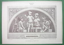 ART NOUVEAU Dekorative Vorbilder Print  - Cute Cherubs Cupids Sculptors Artists