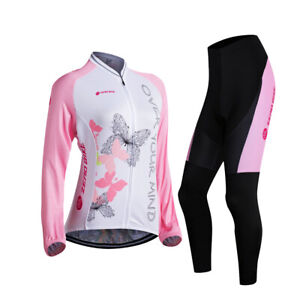 Sports Long Sleeve Cycling Clothing Set Bicycle Wear Suit Jersey Padded Pants