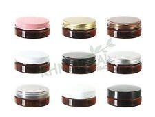 2oz 50ml Amber PET Jars w/ Cap Plastic / Metal Screw Lid Empty Cream Cosmetic