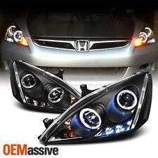 Fits 2003-2007 Honda Accord Black Bezel Dual Halo LED Projector Headlights