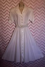 SantaFe by Jim Tremblay White Button-Up Shirtwaist Day Dress Size 12 Cotton USA