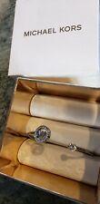 Michael Kors Silver Tone Flex Fit Crystal  Logo Cuff Bracelet