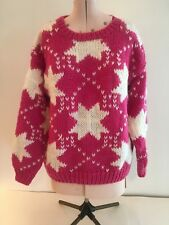 One Step Up Vintage Pink/White/Stars Crew Neck Long Sleeve Med Weight Sweater M