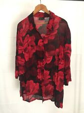 Beautiful Red Black Floral Sheer Chiffon Long Sleeve Button Up Top Plus Size 20