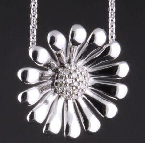 GEORG JENSEN Sterling Silver Daisy Pendant With Diamonds #611