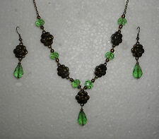 CAMELLIA ROSE VICTORIAN STYLE LIGHT GREEN  GLASS GOLD PL NECKLACE EARRINGS SET