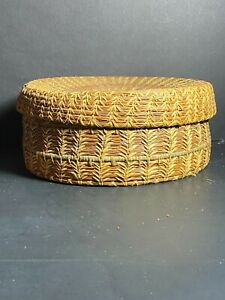 Vintage Native American Indian Coushatta Lidded Basket w/Pine Needles and Raffia