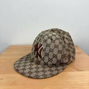 New Era Yankees Cap Gucci Monogram print Hat Snapback 7 1/2 59Fifty Blag GG Logo