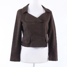 Brown textured cotton blend BANANA REPUBLIC long sleeve motorcycle jacket 0P