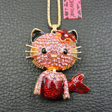 Betsey Johnson Pink Crystal Cute Mermaid Cat Pendant Sweater Necklace Chain