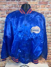Vintage Los Angeles Clippers NBA Basketball Snap Satin Jacket Coat Mens XL Blue
