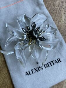 Brand New Alexis Bittar Clear Flower Brooch Large Lucite
