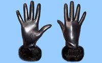 NEW WOMENS size 9 or 3XL BLACK MINK FUR TRIM - GENUINE LAMBSKIN LEATHER GLOVES