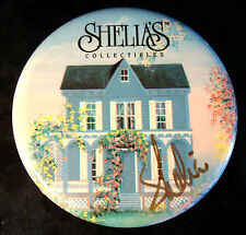 SHELIA'S COLLECTIBLES PIN Signed Autographed Signature HOUSE Round Vintage