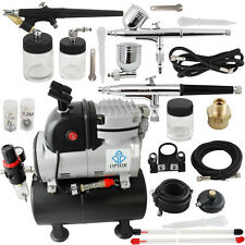 OPHIR 3x Gravity Dual Single Action Airbrush Air Tank Fan Compressor Kit Hobby