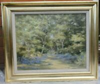 Original Signed Oil Painting Essex Henham, forest, bluebells, by Phyllis Morgans