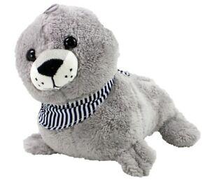 Seehund Baby Heuler Robbe grau Plüsch superweich  mit Halstuch ca. 26 cm
