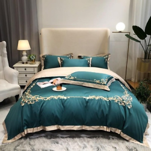 4Pcs Green Cover Set Embroidered Luxury Bedding Set Comforter Cover Bed Sheet