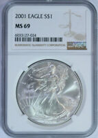 2001 Silver American Eagle Dollar $ / NGC MS69 / Mint State 69 🇺🇸 NGC