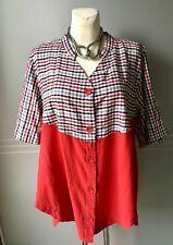 Kekoo Bluse Shirt Tunika Lagenlook Rot + Karo Gr.3
