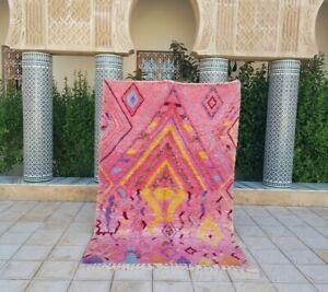 "Azilal rug 7'10x5'1"" Ft Berber Moroccan Beni Ourain Rug Carpet handmade 100%wool"