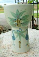 Pottery Stoneware Vase Scandinavian Style Japan Blue Birds Mid Century Modern
