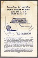 [53008] 1952 LIONEL TRAINS REMOTE CONTROL DUMP & LUMBER CAR INSTRUCTIONS