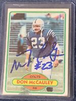 Don McCauley #314 signed autograph auto 1980 Topps Football Trading Card