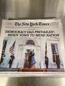 The NYT New York Times Newspaper January 21 2021 Biden Inaugurated Inauguration