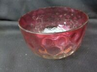 S38 antique amberina coin spot glass finger bowl amber to reds color