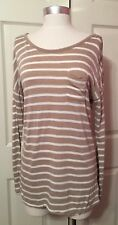 Old Navy Womens Mocha/Tan Stripe Soft Knit Pullover Top Size S