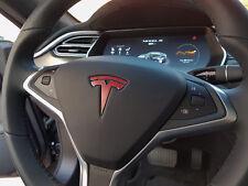 "Tesla Model X Steering Wheel Emblem ""T"" Vinyl Decal Sticker - Matte Red"