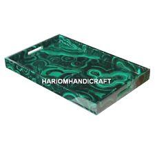 12''x8'&#0 39; Breakfast Marble Tray Plate Malachite Inlaid Stone & Free Room Lamp Art