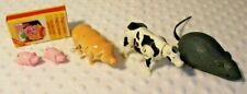 Lot of 4 Vintage Toys Plastic Wind Up - Cow, Pig, Mouse and Magnetic Pigs
