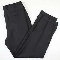 Zanella Men's Dress Pants 36x32 Pleated Dark Brown Cuffed Wool Made In Italy