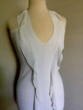 Herve Leger Paris Dress Gown White Sz S Rayon/Nylon w Scarf