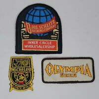 3 Vintage Beer Patches Embroidered Schlitz Olympia Michelob