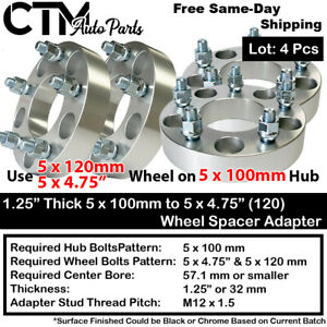 """4PC 1.25"""" THICK 5x100 TO 5x4.75"""" WHEEL ADAPTER SPACER FIT TOYOTA/LEXUS/PONTIAC"""