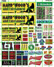 7006SET - DAVE'S DECALS HARDWOOD'S ADULT ENTERTAINMENT STRIP CLUB W/ BILLBOARDS